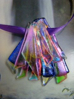 """DICHROIC GLASS  """"  XMAS PARTY  """" PENDANT WEARABLE ART HYPO-ALLERGENIC NO METAL"""