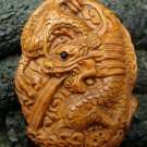 """2 DRAGONS / DRAGON "" CARVED WOOD PENDANT ONXY GEM EYE  FREE GIFT SILK BAG"