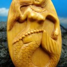 MERMAID W/ PEARLS PENDANT HAND CARVED PEACH-TREE WOOD  FREE GIFT SILK BAG