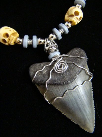HUGE!  FOSSIL GREAT WHITE SHARK TOOTH BONE & PEWTER SKULL NECKLACE