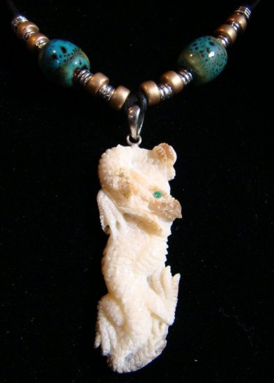 "FOSSIL WALRUS TUSK  "" ASIAN DRAGON w/ EMERALD GEMSTONE EYE ""  PENDANT / NECKLACE"