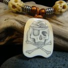 "Scrimshaw "" Skull & Bones "" Fossil Mammoth Ivory - Jolly Roger - Carved Bone Skull Beads Necklace"
