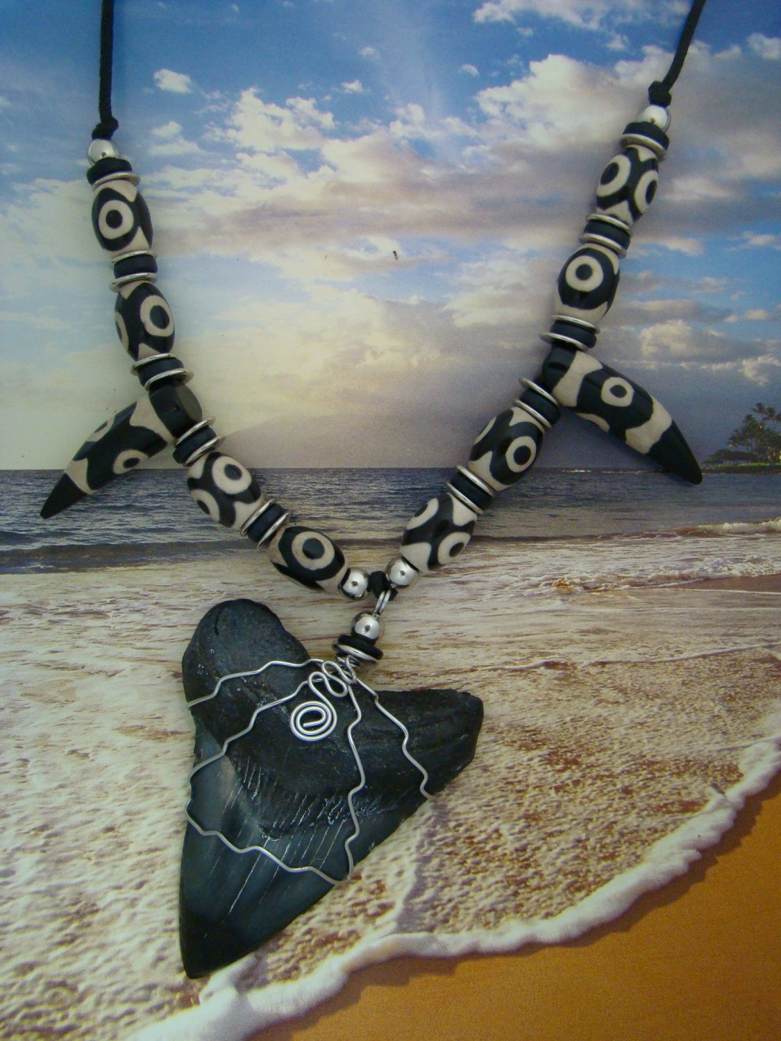"Fossil "" Megalodon Shark "" Tooth Necklace - Tibetan dZi 3 Eye Beads - Stainless Steel Wire Wrapped"