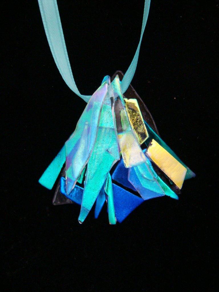 "Dichroic Glass Pendant - ""Twilight"" - Hypo-Allergenic - Satin Ribbon with Guard Bead"