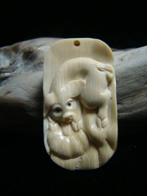 "Vintage "" Year of the Pig "" Hand carved Fossil Mammoth Ivory Zodiac  Netsuke / Pendant"
