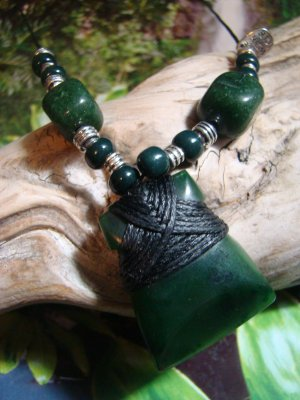 New Zealand Maori GreenStone Jade Adze Toki - Pounamu, Kawakawa, Polished Wrapped Pendant, Necklace