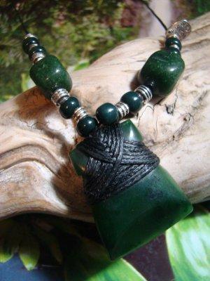 New Zealand Maori GreenStone Jade Adze Toki - Pounamu, Kawakawa, Polished Wrapped Pendant, Necklace