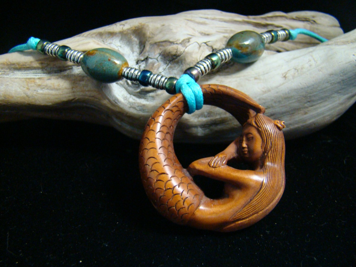 MERMAID W/ PEARL - Hand Carved Wood 2in Miniature,Figurine, Ceramic Porcelean Beads Necklace