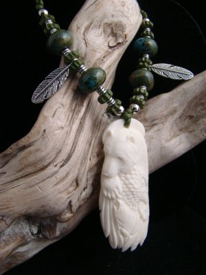 Eagle Bear Salmon Hand Carved Bone Animal Spirit Pendant - Feather and Bead Necklace