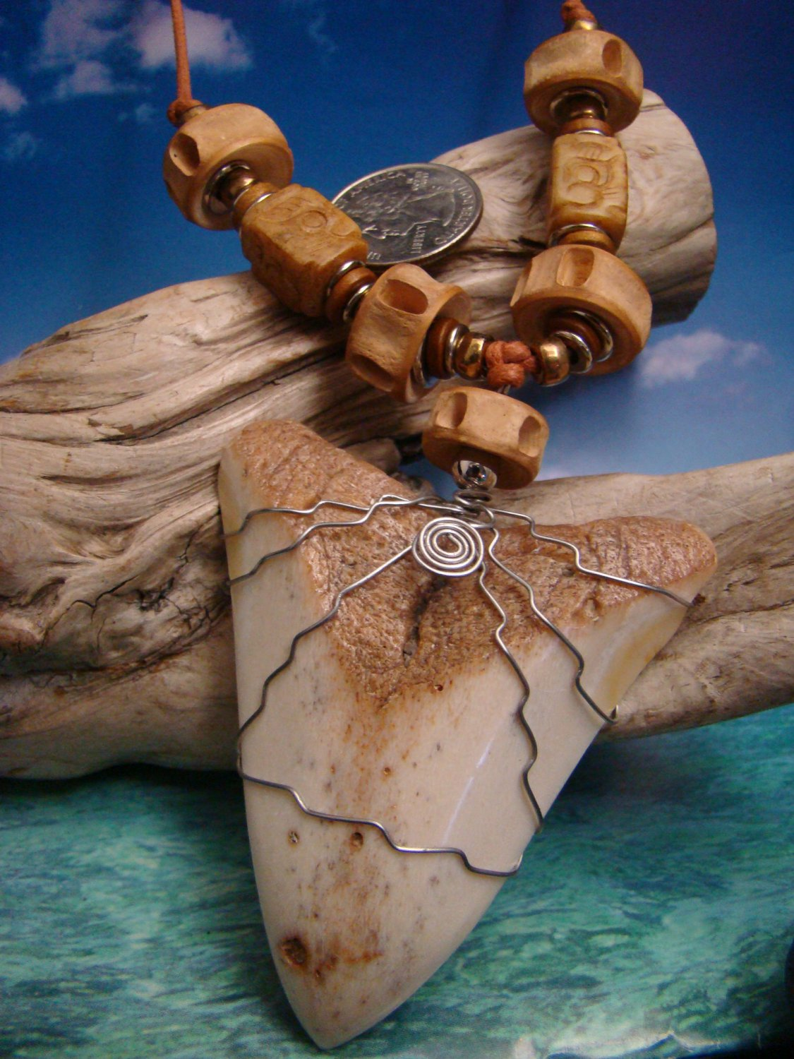 "South Pacific 78mm Fossil Megalodon Shark Tooth "" Necklace - Shark Vertebra & Carved Jade Bead"