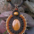 Tigers Eye Gemstone 'Sun Burst' Pendant / Necklace - Micro Macrame Hemp Cord