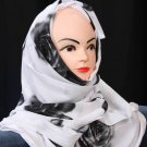 Black and white hijab.
