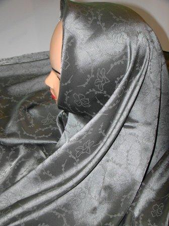 Gray silk hijab