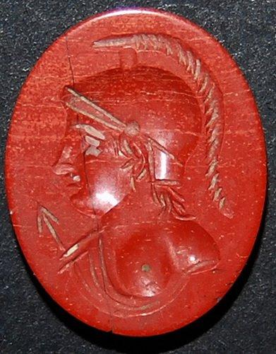 ROMAN RED JASPER INTAGLIO OF MINERVA