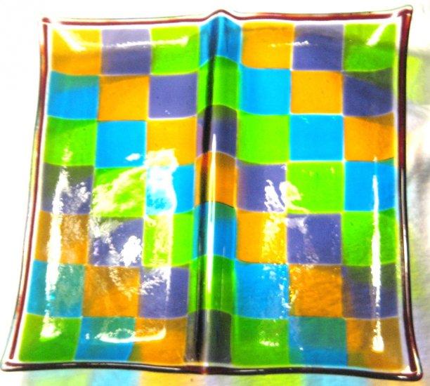 Checker Cracker Platter - Handmade Fused Glass