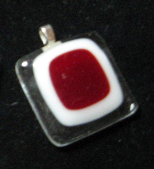 Red Window Pendant - Handmade Fused glass