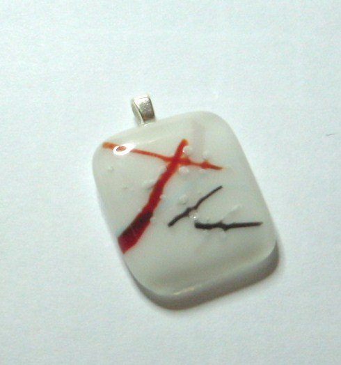 Red Abstract Pendant - Handmade Fused Glass