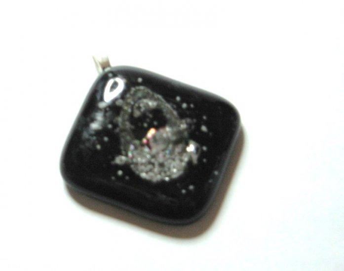 Black Errosion Pendant - Handmade Fused Glass