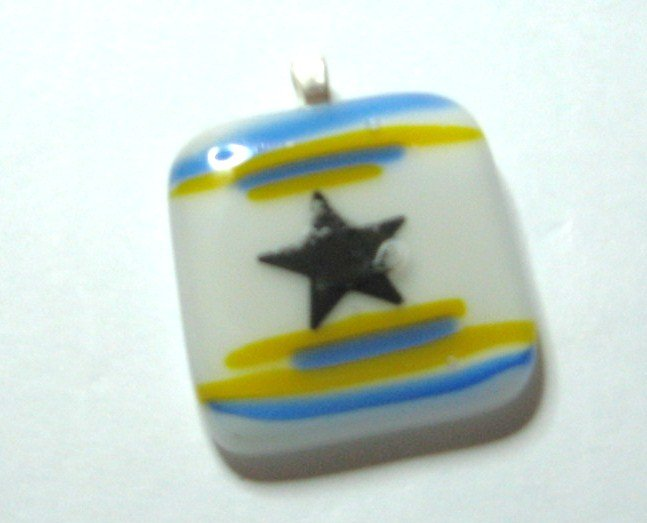 Star Decal Pendant - Handmade Fused Glass