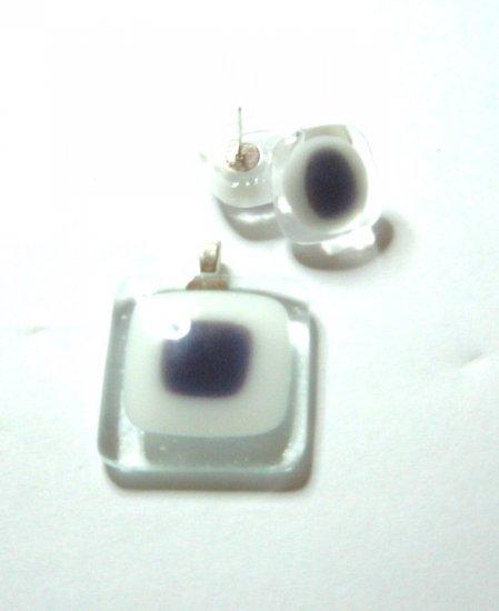 Purple Window Pendant and Earrings - Handmade Fused Glass