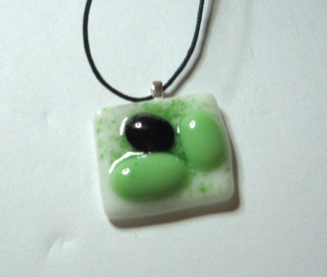 Green Jube Pendant - Handmade Fused Glass