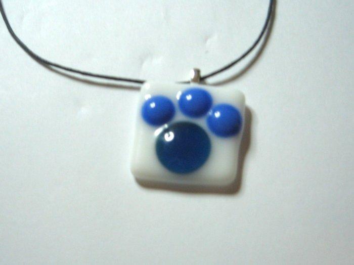 Blue Paw Jube Pendant - Handmade Fused Glass