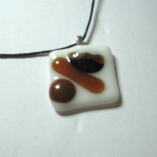 Coffee Bean Jube Pendant - Handmade Fused Glass