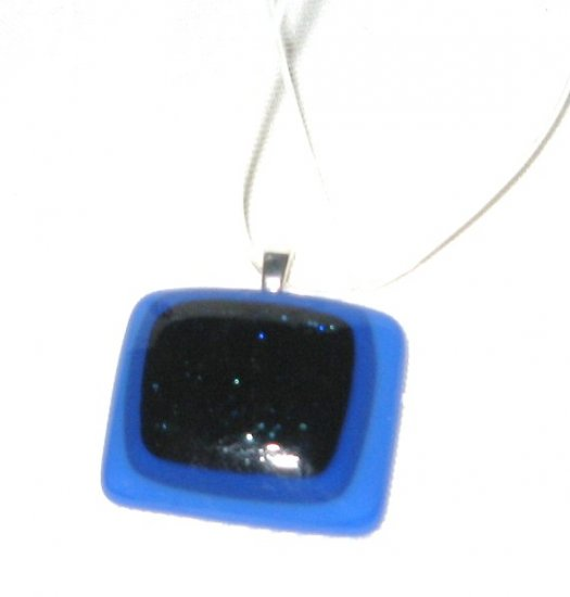 Blue Boxes Pendant - Handmade Fused Glass