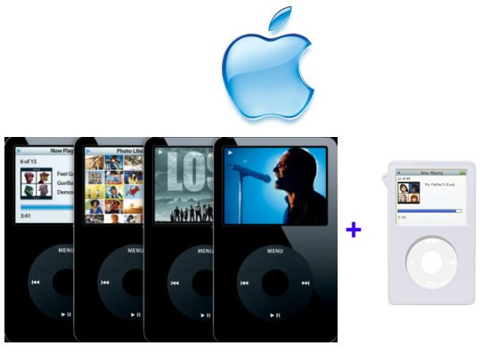 Apple iPod Video 30GB, 7500 Songs in Your Pocket (Black) and Clear Ipod Case