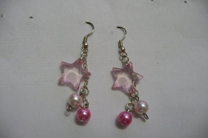 sterling Silver Pink star earrings