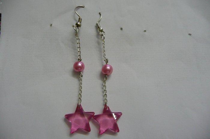 sterling silver Pink pearl star earrings