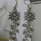 sterling silver Snowflake Cluster Pearls Earrings
