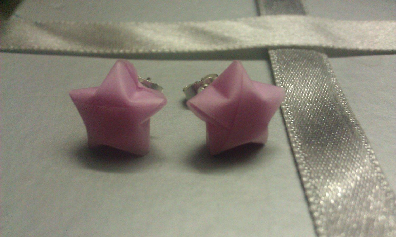 Pastel Pink paper star earrings
