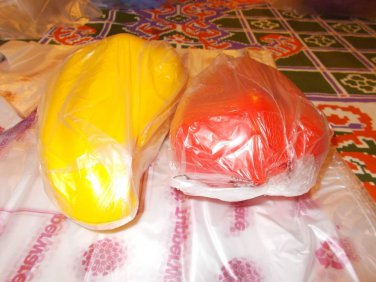 Tupperware SET of 2 NEW red and yellow CHILLI Keepers