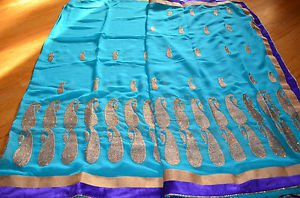 NEW Indian Designer synthetic EthnicTraditional Saree-with Border blue