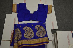 NEW Indian Designer synthetic Ethnic Traditional Saree-Border and Blouse ready