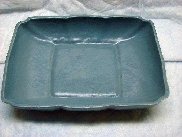 Vintage Cookson Pottery Low Planter Console Bowl Dusty Blue Gray