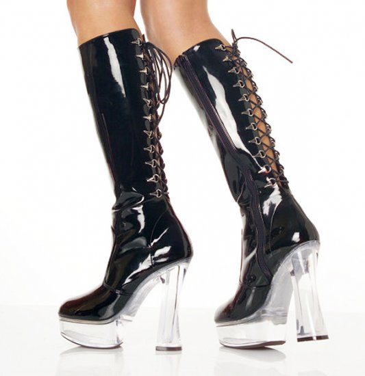 SEXY BLACK PATENT LACE-UP PLATFORM STACK HEEL KNEE HIGH BOOTS - SIZE 8