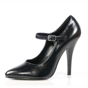 NEW SEXY BLACK LEATHER MARY JANE PUMPS HIGH HEELS SIZE 5