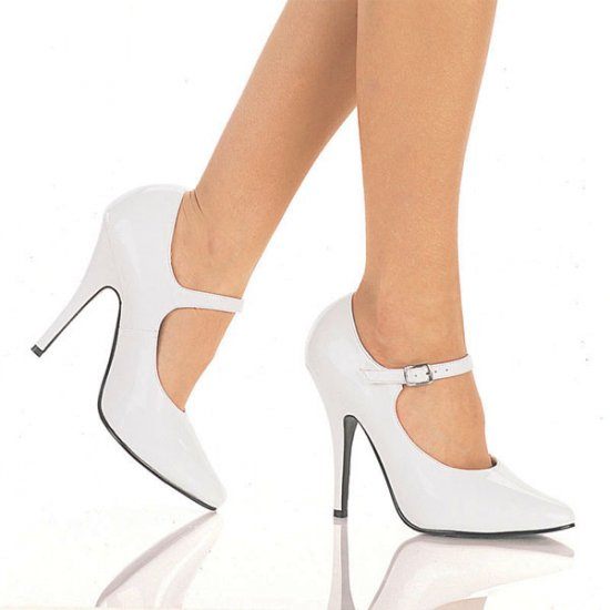 NEW SEXY WHITE PATENT ANKLE STRAP HIGH HEEL PUMPS - SIZE 8