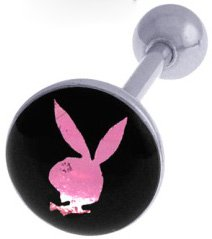 SEXY PINK & BLACK PLAYBOY BUNNY FOIL TONGUE BARBELL RING