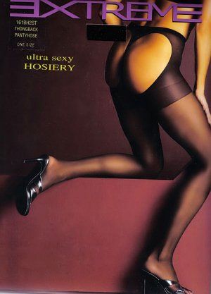 SHEER SEXY RED OR BLACK THONG BACK PANTYHOSE STOCKINGS -  ONE SIZE