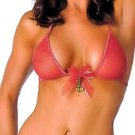 SEXY RED JINGLE BELL CHRISTMAS HALTER BRA & BOW BACK G-STRING -  ONE SIZE