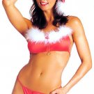 SEXY TEASE SANTAS HELPER RED BRALETTE G-STRING & HAT - ONE SIZE