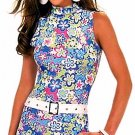 SEXY FLORAL GROOVY PRINT VELVET CLUB MINI DRESS BELT* M
