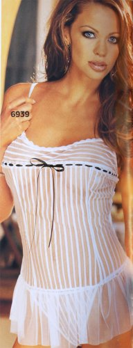 SEXY BLACK or WHITE SHEER STRIPED MESH CHEMISE & G-STRING - ONE SIZE