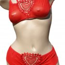 SEXY VALENTINE SHEER RED HEART MESH CUT OUT CAMI TOP & BOY SHORTS - ONE SIZE
