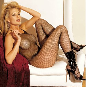 SEXY BLACK *RED or *WHITE FISHNET HALTER STYLE OPEN CROTCH BODY STOCKING* ONE SIZE