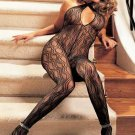 SEXY BLACK SWIRL LACE OPEN CROTCH HALTER BODY STOCKING - ONE SIZE