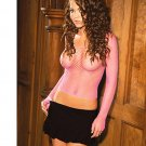 SEXY SHEER HOT PINK FENCE NET L/S CLUB DANCER TOP - ONE SIZE